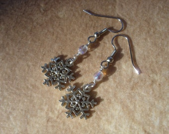 Pewter Snowflake Dangle Earrings with Crystal Czech Beads