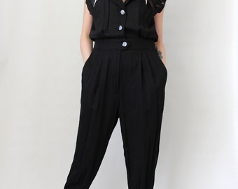 Vintage '80s Rock Glam Jumpsuit Rocker Chic - Size Small to Medium