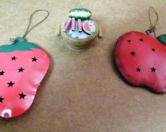 Metal Tin Punched Metal Craft embellishment Apple Strawberry Watermelon Watermelons Country kitchen home decor