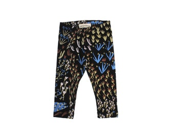 Field of Dreams Leggings in Royal Blue, Pale Pink, Rust and Gold on Black