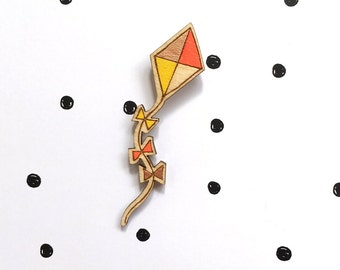 High as a kite - Neon Orange and Yellow Wooden Pin Badge, Hand painted and hand applied copper leaf, Laser Cut Birch Wood, Hand Painted