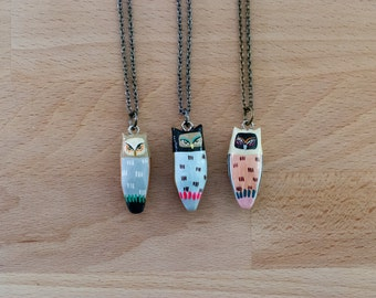 Choose Your Owl Necklace / Great Horned Owl / Hand Painted