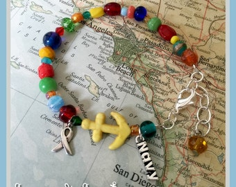 US Navy colorful beaded charm bracelet by Son and Sea - FREE US shipping