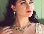Bridal necklace - woodland wedding - vintage glass - green and white , emerald necklace , gemstone necklace  vintage style Gold Lace Couture