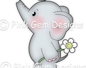 Digi Stamp  'Ella with Dragon Fly' - Birthday, Elephant, Party Invitations etc