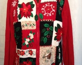 Poinsettias Snowflakes and Holly Cheap Ugly Tacky Christmas Sweater Tiara International Leaves on Zipper FUN! Women Large Red and Green