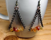 Bohemian Jewelry - Raw Stone Earrings, Stone Chip Jewelry, Orange and Copper, Orange Stone Jewelry, Orange Stone Earring