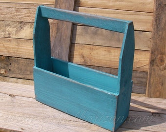 Turquoise Wood Tote Box Beach House Decor Wooden Organizer Reclaimed Wood Custom Finish Painted Nautical Storage Tote Carrier Caddy