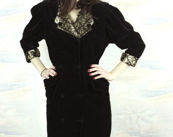Black velvet dress /balck and golden dress/ mid length dress/ size small/1940s /1980s/art deco dress/size US 6/UK 10/EU:38