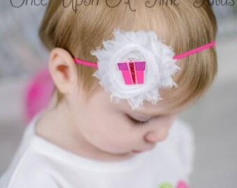 Birthday Present Shabby Flower Headband - Pink First Birthday Photo Prop - Baby Girls Hair Bow - Hot Pink Gift Hairbow Accessories Piece