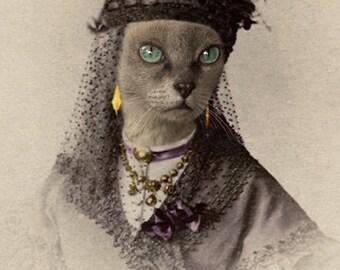 Amara, Vintage Cat Print, Gothic Art, Anthropomorphic Cat, Unique Cat Print, Whimsical Art, Mixed Media Art Print, Photo Collage