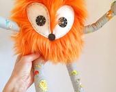 Kawaii Orange Fox Furry Bendable Posable Toy Woodland Room Decor Buddy