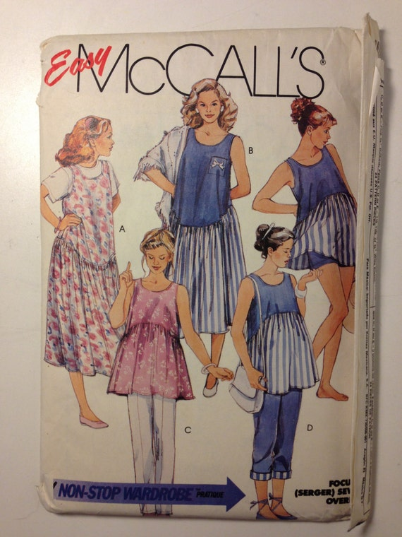 McCalls 4746 Sewing Pattern 80s Uncut Misses Maternity Dress or Jumper, Top, Pants or Shorts Size 10-12