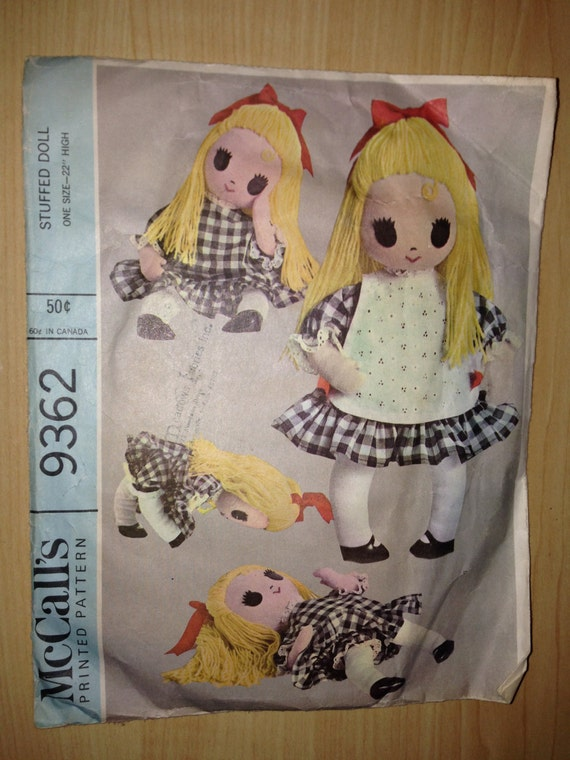 McCalls Sewing Pattern 9362 60s Girl Stuffed Doll, Dress, Panties and Apron 22""