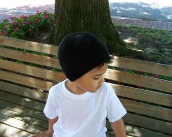 Black Beanie - Crochet Hat for Kids - Black Hat - Boys Hat - Crochet Hat - Beanie Hat - Boy Beanie - Hat for Boys - Kids Hat - Kids Beanie