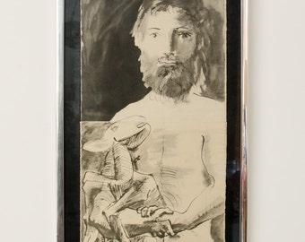 Vintage Framed Limited Edition Pablo Picasso Lithograph Etude Pour le Mouton - Mid Century