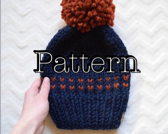 Knitting PATTERN,  Fair Isle Knitted Hat, Knitting pattern, Fair Isle Pattern, Size Adult || The Harlee