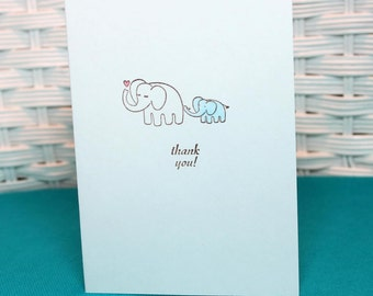 Set of 6 Hand Stamped Elephant Baby Boy Thank You Note Cards