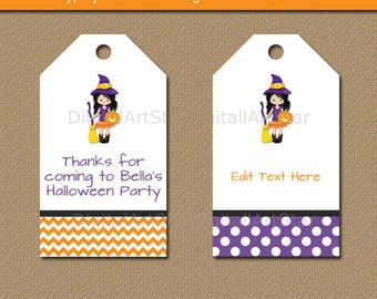 Halloween Tags - Halloween Favor Tags - Halloween Gift Tags - Halloween Labels - EDITABLE Halloween Hang Tags - Printable Witch Tags WDS