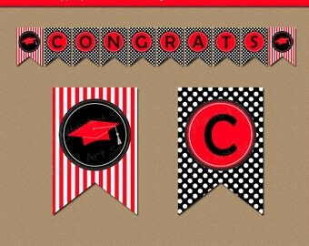 Printable Graduation Banner Decor - High School Graduation Party Decorations - 2017 Grad Party Banner - Printable Banner - Pennant Banner G4