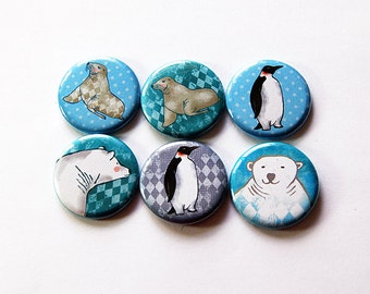 Animal magnets, Fridge magnets, button magnets, stocking stuffer, arctic magnets, seal magnet, penguin magnet, polar bear magnet (5870)