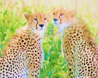 Cheetahs, Big Cat, Africa Animals, African Decor, Cheetahs Painting, Safari Art, Large Prints, Cheetah Print, Available on Canvas