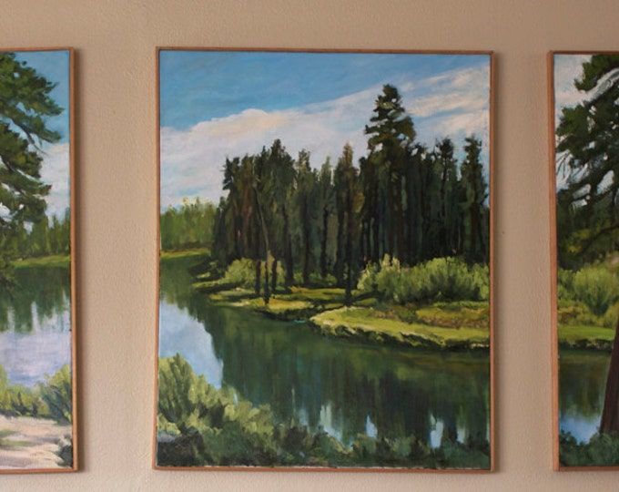 Large Triptych Deschutes River Oregon Landscape Oil Painting Sherri McDowell Artist Oregon by heART
