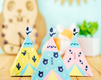 Printable Teepee Gift Boxes, DIY Tipi Tealight Lantern, Printable candy box, Children's Party Favor