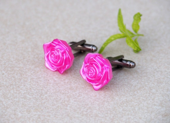 Clothing gifts Rose cufflinks Fuchsia cuff links Roses Wedding jewelry Flowers Nature Spring Gift for her Ladies fashion