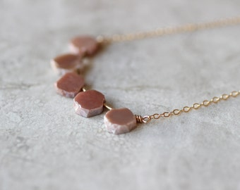 Peach Moonstone Necklace, Dainty Necklace, 14kt Gold Fill Necklace, Gemstone Necklace
