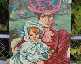 "Vintage Paint by Number Victorian Woman with Child Large  20"" x 16"" Painting PBN"