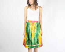 Vintage Tie-Dyed Full skirt, Ethnic pattern Indian skirt High waist drawstring Boho Hippie, XS