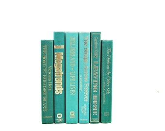 Aqua Green Decorative Books, Vintage Books, Old Book Decor, Wedding Decor Centerpiece, Book Collection, Instant Library, Book Set stack