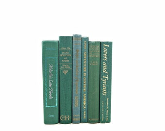 GREEN Decorative Books, Old Book Set, Book Decor, Wedding Decor Centerpiece, Instant Library, Old Book set, Home Decoration, Bookshelf Decor