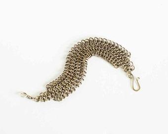 "Brass Chainmaille Bracelet Wide European 4 in 1 Antiqued Brass 7.5"" Chain Maille Mail Bracelet Hand Made"