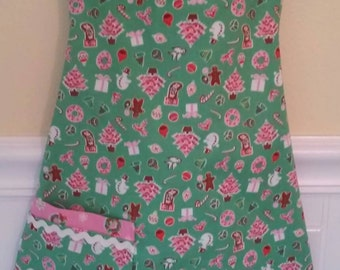 Girls Christmas Apron, Apron, Play Apron, Dress Up Clothes
