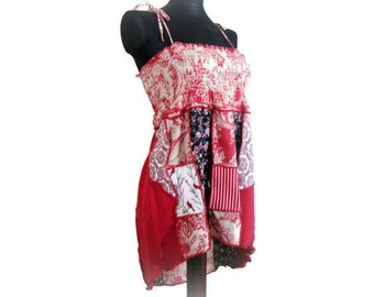 Asymmetric Summer Top, Upcycled Clothing, Womens Red Summer Top, Festival Wear, Womens Red Halter Top, OOAK Hippie Top, Handmade Boho Tunic