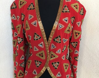 Vintage eveningwear beaded jewel jacket red lined by Black Tie sz 8