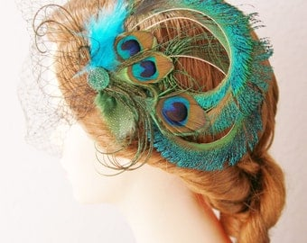 Peacock Bridal Hair Accessory - Rustic Boho Chic Peacock Wedding Headpiece - Teal Aqua Blue Peacock Hair Comb
