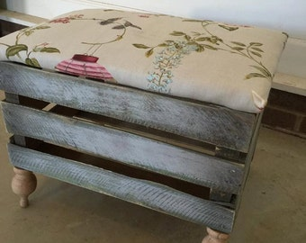Floral Wooden Footstool