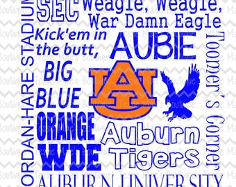 Auburn Subway Art, War Eagle, Auburn University, SVG, DXF, EPS, Instand Download, Digital Design