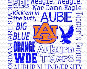Auburn Subway Art, War Eagle, Auburn University, SVG, DXF, EPS, Png, Instant Download, Digital Design