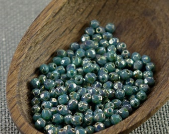 3mm beads 70pc Fire polished beads 3mm faceted beads Czech beads 3mm  round beads Opaque Turquoise Picasso Bronze beads 3mm beads 1.
