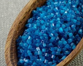 20g 2mm seed beads Czech seed beads Czech rocailles 2mm seed beads Capri Blue Silk Hexagon seed beads NR 334