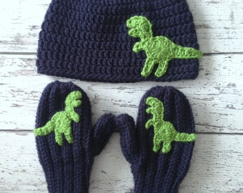 Dinosaur Hat and Mitten Set, Crochet T-Rex Animal Hat, Children's Hat and Mittens, Made to Order