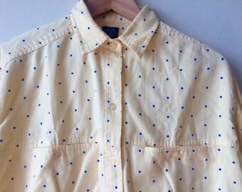 80s Gap Polka Dot Light Yellow and Blue Shirt Button Up Womens Medium