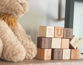 Personalized Alphabet Building Blocks - Nursery decor, baby gift, natural and organic baby alphabet blocks