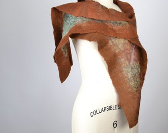 Brown Felted Scarf - Nuno Felted Scarf - Merino Wool Felted Scarf - Silk Scarf - Nuno - Felted - Women's Accessories