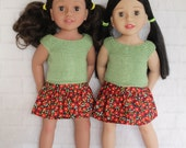 Cool Afternoon Green Knitted Top Red Floral Skirt - Dolls clothes to fit Australian Girl dolls