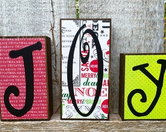 Christmas and Halloween Decor Reversible Chunky Wood Letter Blocks with Joy and Boo.  Reversible Christmas Wood Letter Blocks